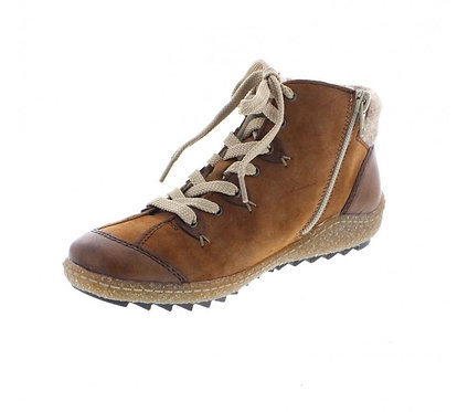 Rieker L7513-23 Ladies Combination Zip up Ankle Boot in Brown