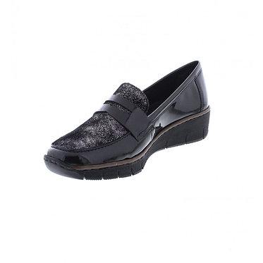 Rieker 53732-01 Ladies Black Slip-on Shoe