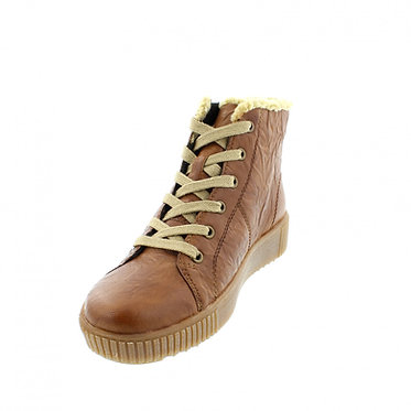 Remonte R7980-22 Ladies Tan Leather Zip and Laces Shoe