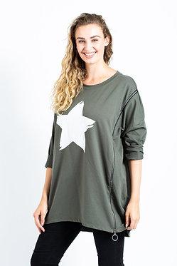 Sweatshirts Star Side Zipped Tunic