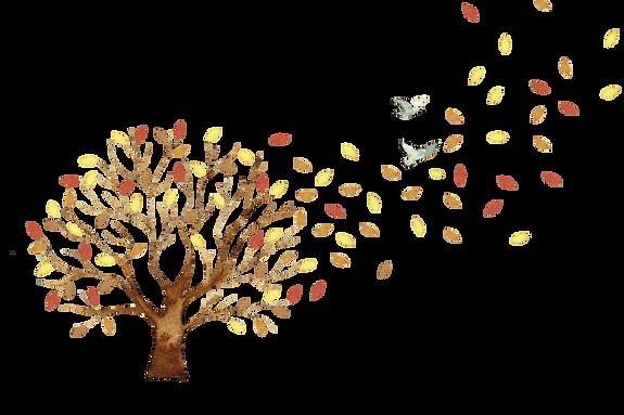 árvore folhas e passaros outono aquarela