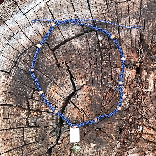 Calcite and Wood Macrame Necklace - Denim and Copper Cord
