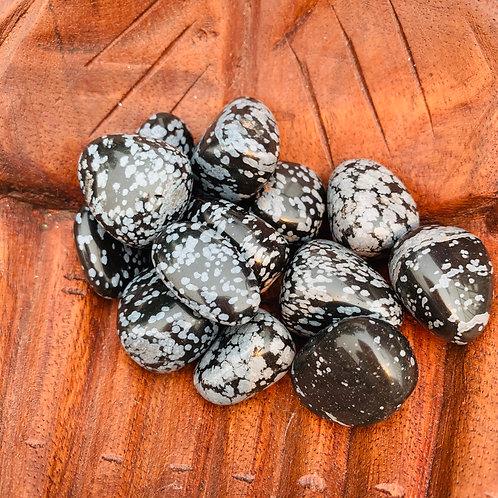 Tumbled Stone - Snowflake Obsidian