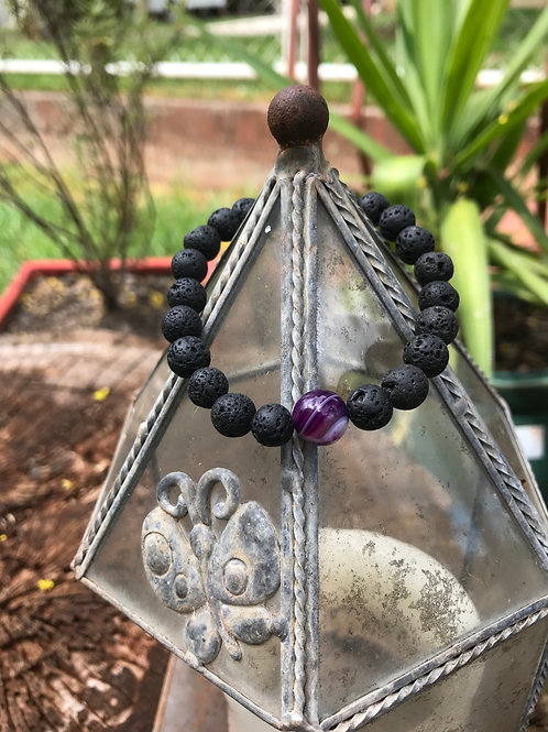 Lava Stone and Purple (Dyed) Agate Accent Bracelet