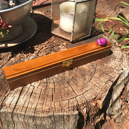 Wood Incense Holder Box - Pink (dyed) Agate