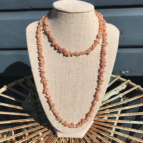 Long Gemstone Chip Necklace - Sunstone