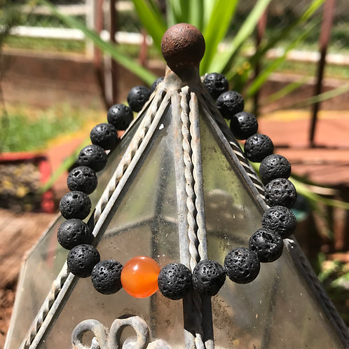 Lava Stone and Carnelian Accent Bracelet