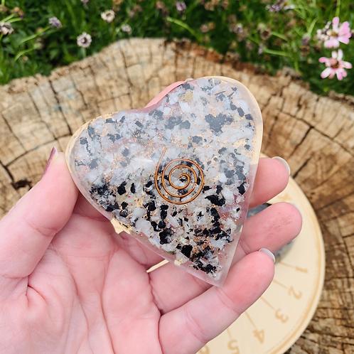 Large Rainbow Moonstone Orgonite Heart