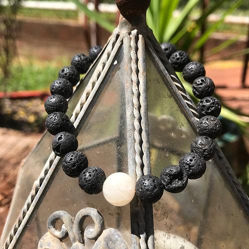 Lava Stone and Moonstone Accent Bracelet