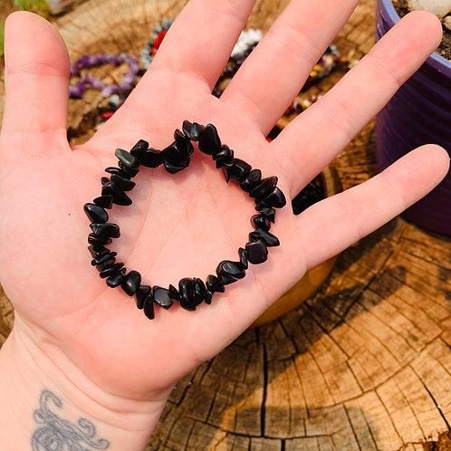 Gemstone Chip Black Onyx Bracelet