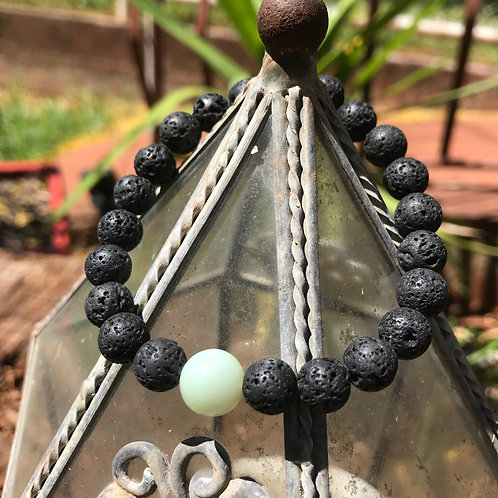 Lava Stone and New Jade Accent Bracelet
