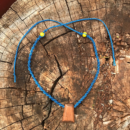 Reimagined Macrame Necklace - Blue Cord