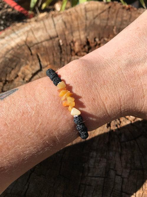 Yellow Jasper Chip and Lightweight Lava Stone Bead Bracelet