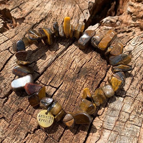 Chunky Gold Tiger Eye Chip Bracelet
