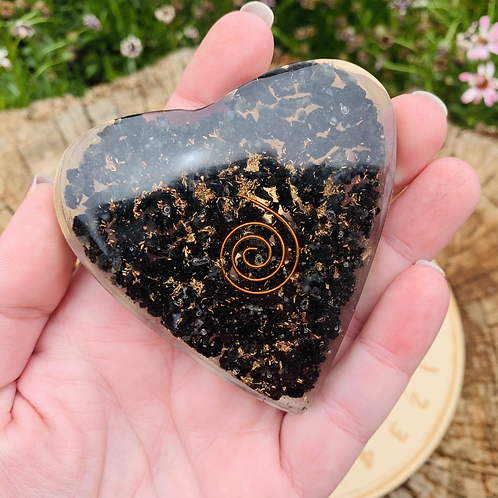 Large Black Tourmaline Orgonite Heart