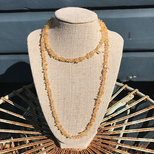 Long Gemstone Chip Necklace - Citrine