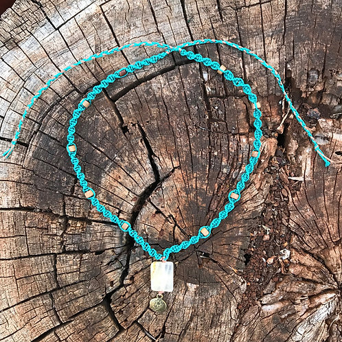 Calcite and Wood Macrame Necklace - Turquoise and Copper Cord
