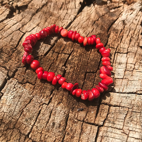 Gemstone Chip Red Coral Bracelet
