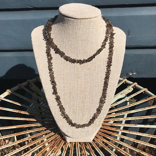 Long Gemstone Chip Necklace - Smokey Quartz