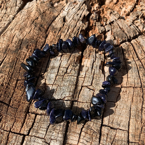 Gemstone Chip Blue Goldstone Bracelet