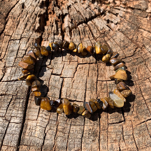 Gemstone Chip Gold Tiger Eye Bracelet