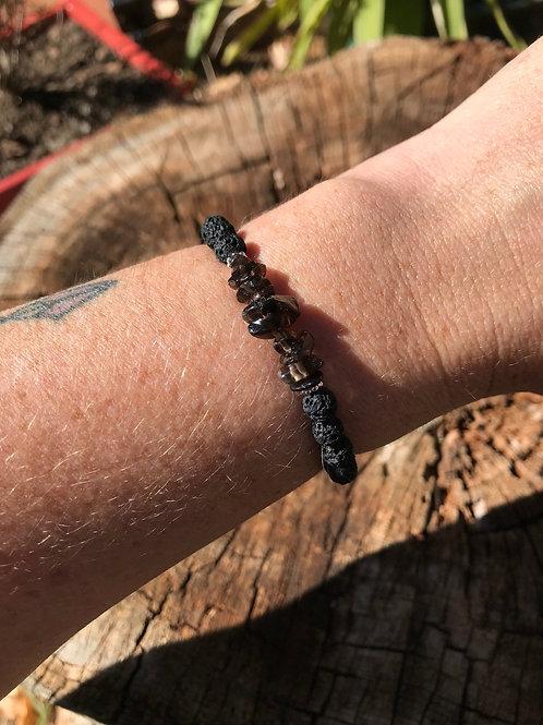 Smokey Quartz Chip and Lightweight Lava Stone Bead Bracelet
