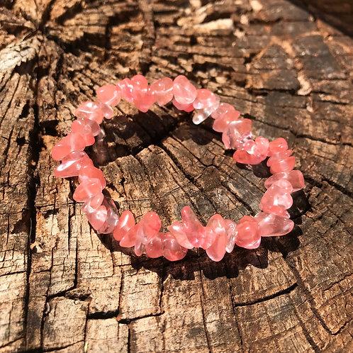 Gemstone Chip Cherry Quartz Bracelet