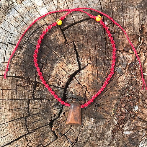 Reimagined Macrame Necklace - Red Cord