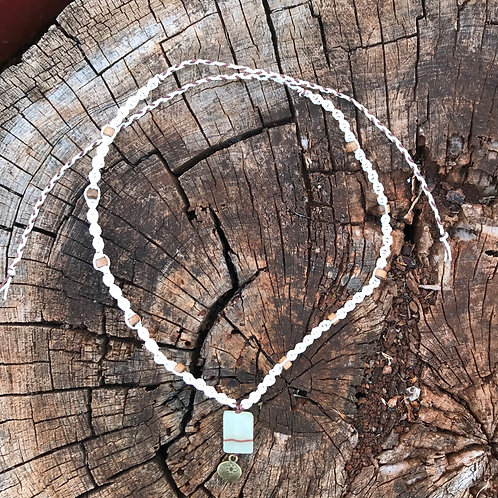 Calcite and Wood Macrame Necklace - White and Black Cord