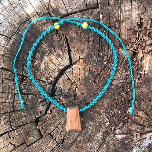 Reimagined Macrame Necklace - Teal Cord