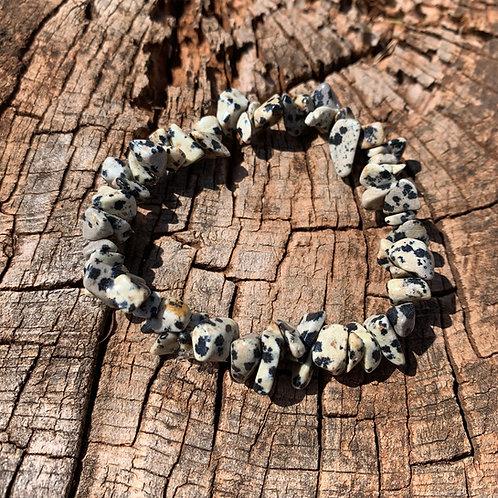 Gemstone Chip Dalmatian Jasper Bracelet