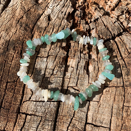 Gemstone Chip Grey Moonstone and Aventurine Bracelet