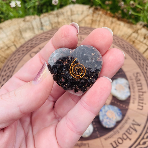 Small Black Tourmaline Orgonite Heart