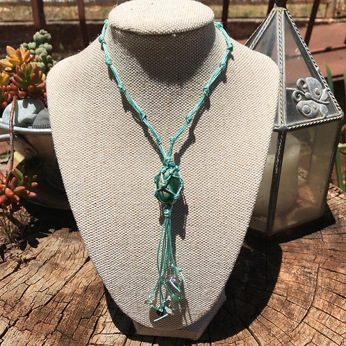 Wrapped Pendant Necklace - Moss Agate and Mixed Beads
