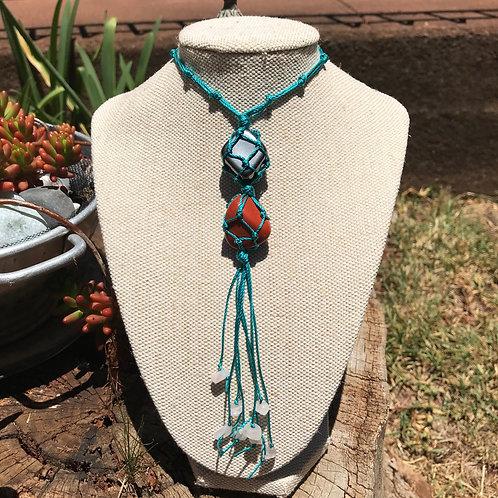 Wrapped Pendant Necklace - Red Jasper, Hematite and Rose Quartz