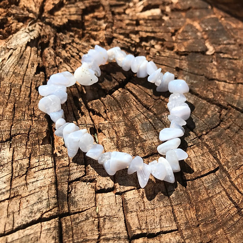 Gemstone Chip Blue Lace Agate Bracelet
