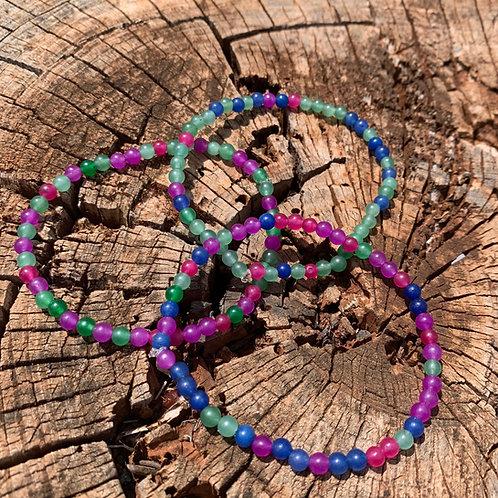 Mixed Dyed Jade Round Stone Bracelet