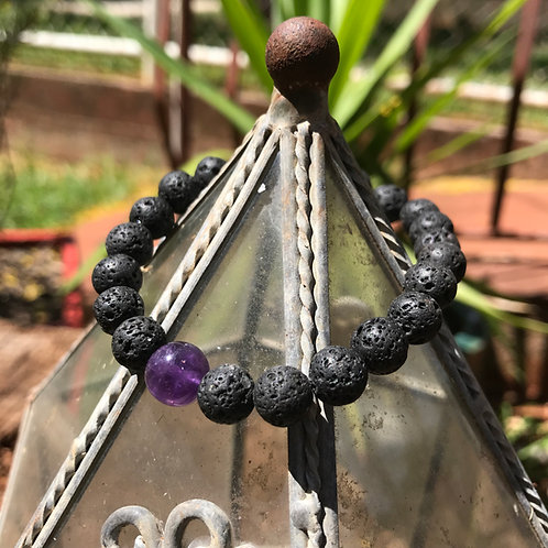 Lava Sone and Amethyst Accent Bracelet