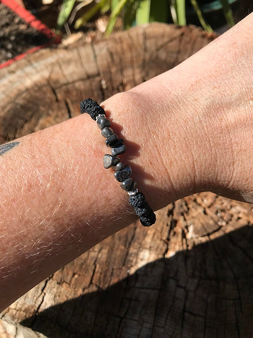Hematite Chip and Lightweight Lava Stone Bead Bracelet