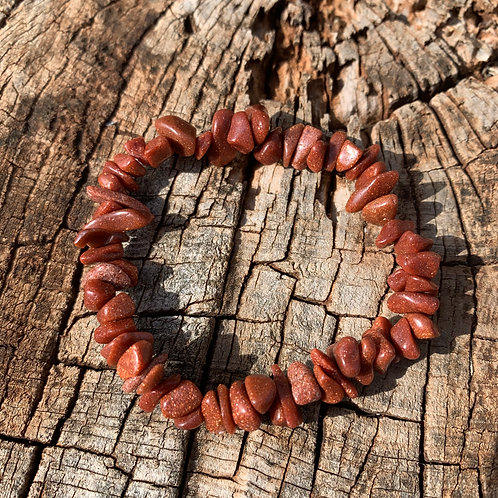 Gemstone Chip Red Goldstone Bracelet