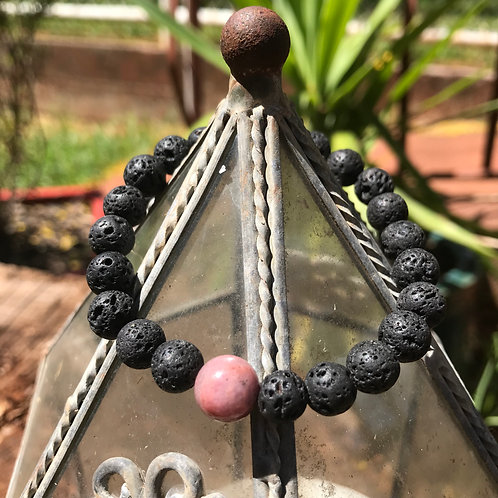 Lava Stone and Black Veined Rhodonite Accent Bracelet