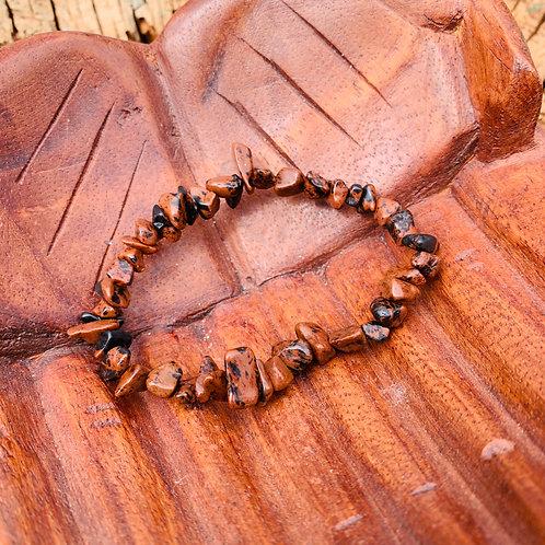 Gemstone Chip Mahogany Obsidian Bracelet