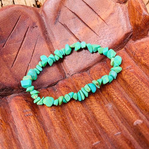 Gemstone Chip Green Magnesite Bracelet