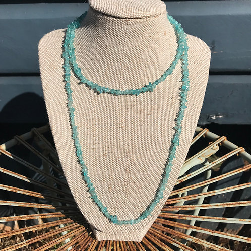 Long Gemstone Chip Necklace - Apatite