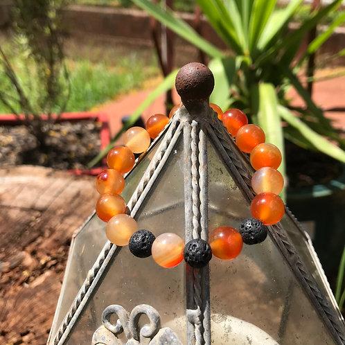 Carnelian and Lava Stone Bracelet