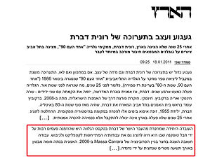 """haaretz reference about """"Wall / Event"""" - 2011"""
