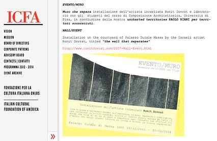 """Dal Web: Invito """"Evento / Muro"""" -  ICFA Fondazione per la cultura italiana in America"""