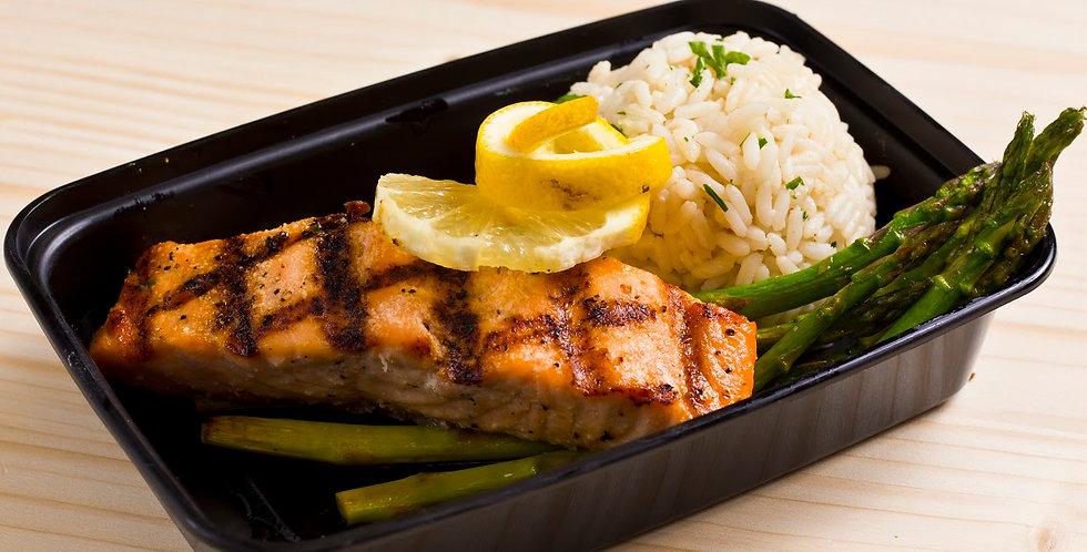 Salmon, Rice, Asparagus
