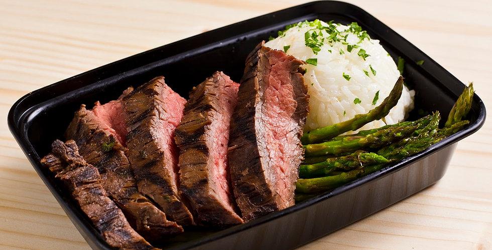 Steak, Rice, Asparagus