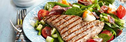 Tuna steak on a nicoise salad